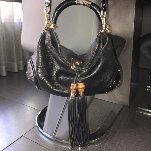 75665b41e Gucci Bags   Bamboo Leather Tassels Black Bag   Poshmark